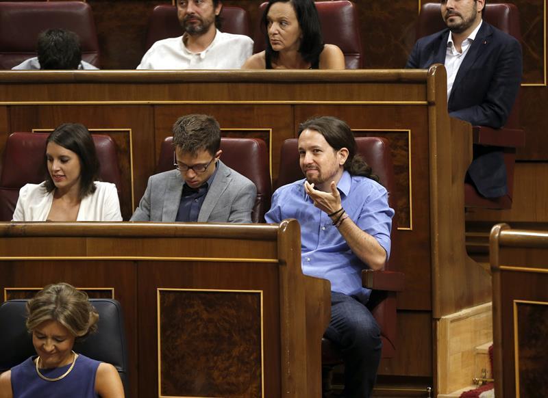 Pablo Iglesias en su tribuna. EFE