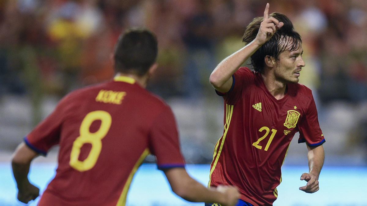 Silva celebra el 0-1 de España ante Bélgica. (AFP)