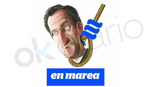 Caricatura de En Marea sobre el presidente de la Xunta de Galicia, Alberto Núñez Feijóo.