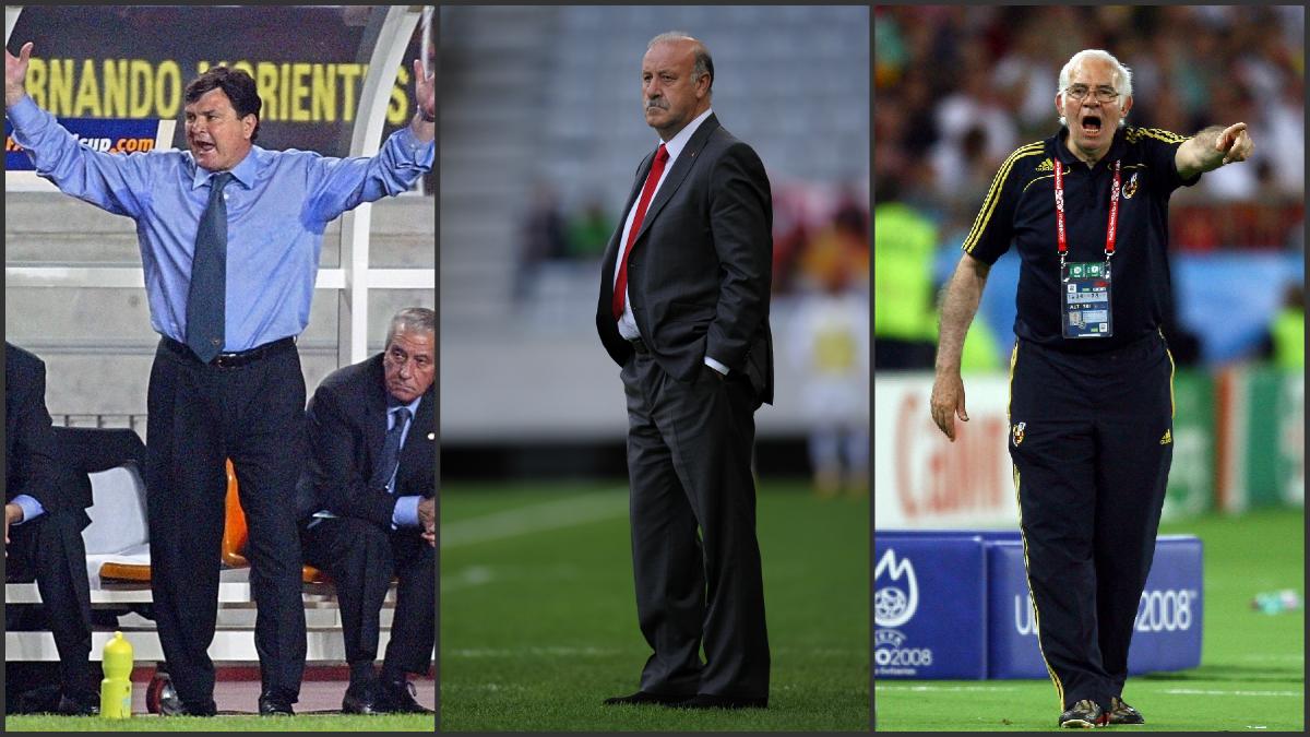 Camacho, Del Bosque y Luis Aragonés, con la Selección