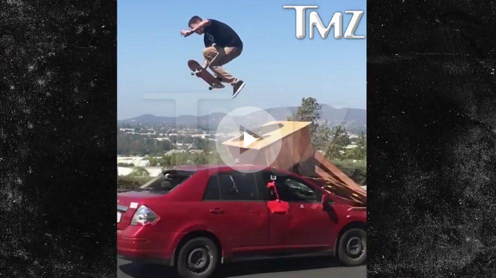 Brutal accidente de un skater realizando una exhibición arriesgada