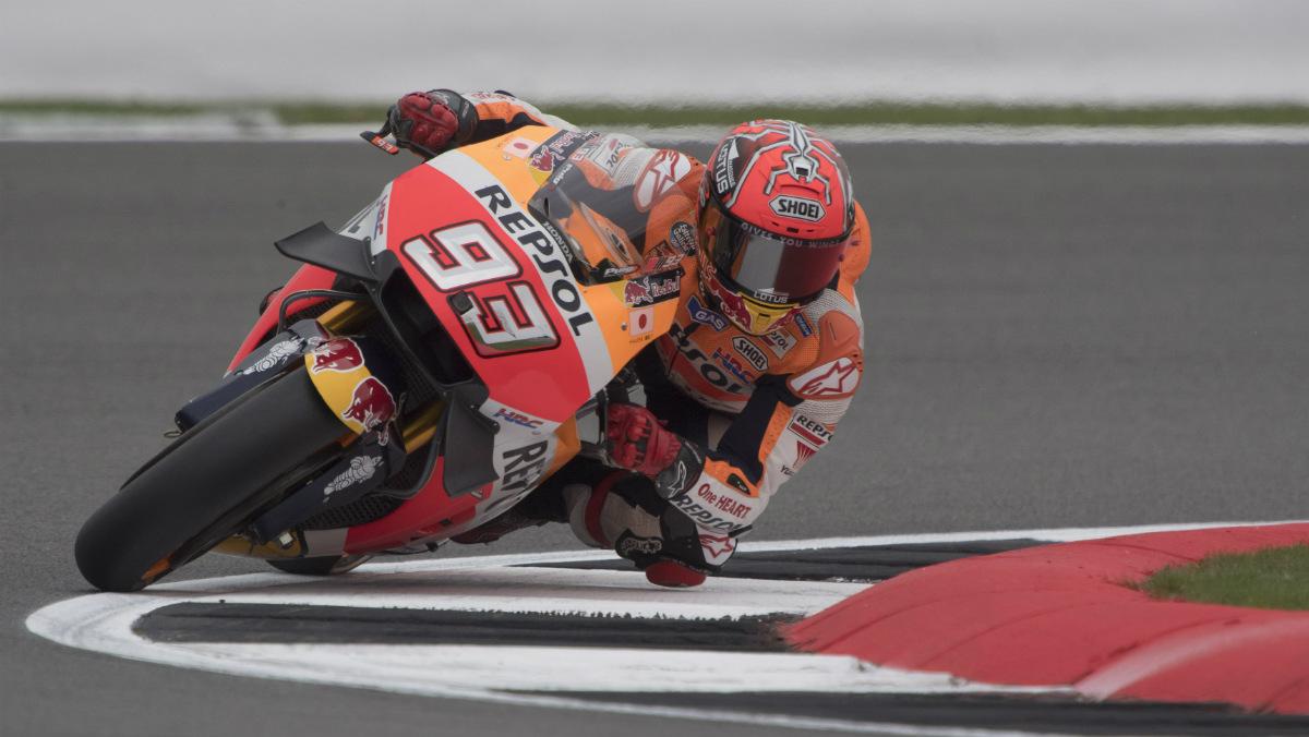 Márquez durante la clasificación en el GP de Gran Bretaña. (Getty)