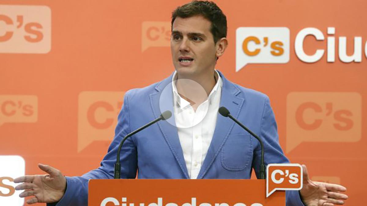 El presidente de Ciudadanos, Albert Rivera, durante una rueda de prensa (Foto: Efe)