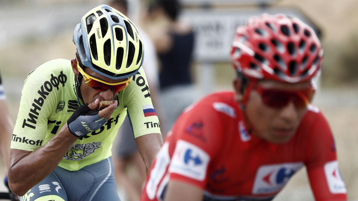 Nairo Quintana y Contador en la etapa de Formigal. (EFE)