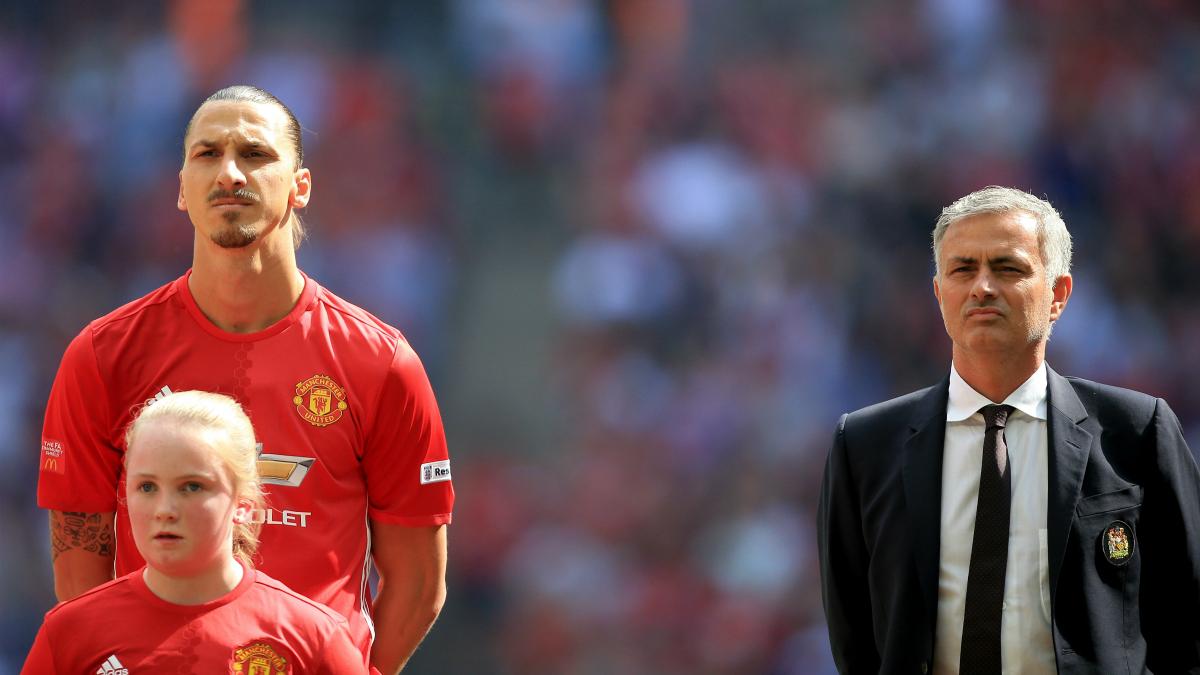 Ibrahimovic y Mourinho, antes de un partido. (Getty)