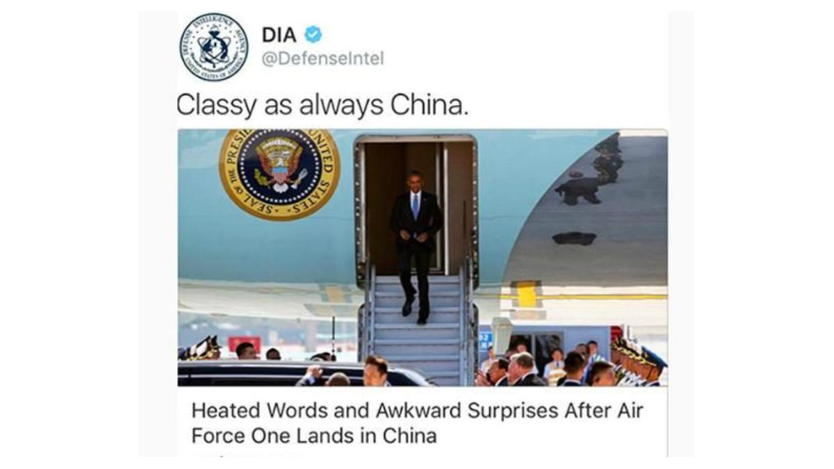 Imagen del tuit sarcástico de la DIA sobre la recepción a Obama en China.