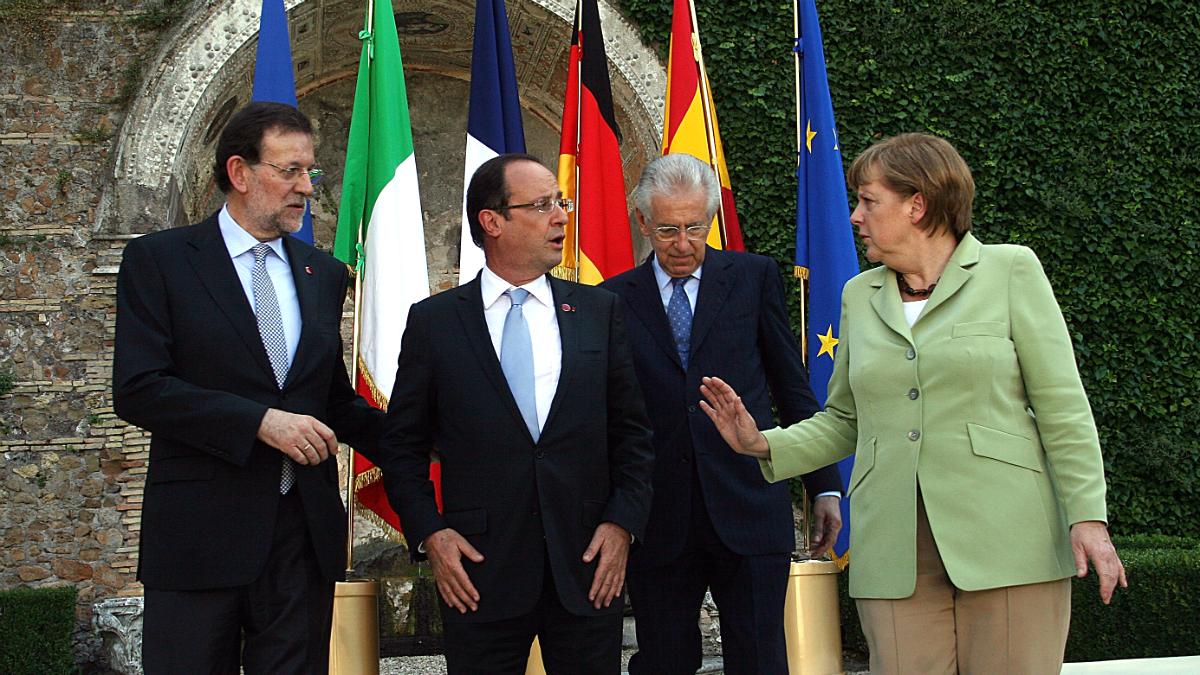 Mariano Rajoy, François Hollande, Mario Monti y Angela Merkel (Foto: GETTY).