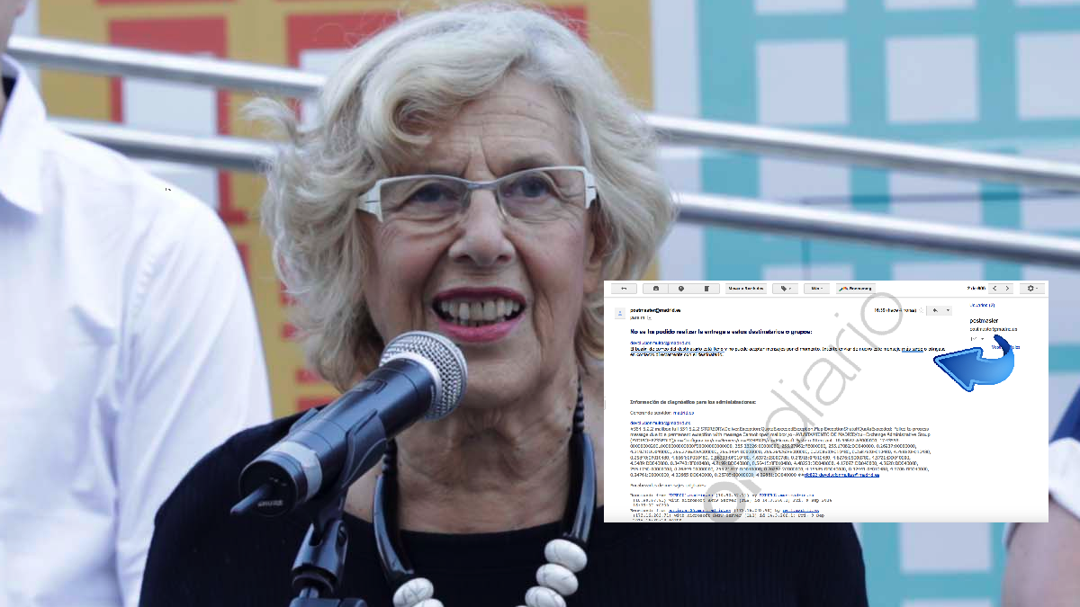 La regidora Manuela Carmena este viernes presentando el plan MAD-RE. y el email devuelto. (Foto: Madrid)