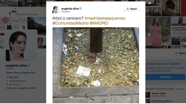 La 'top model' Eugenia Silva le muestra al mundo la suciedad de Carmena: «Madrid está asqueroso»