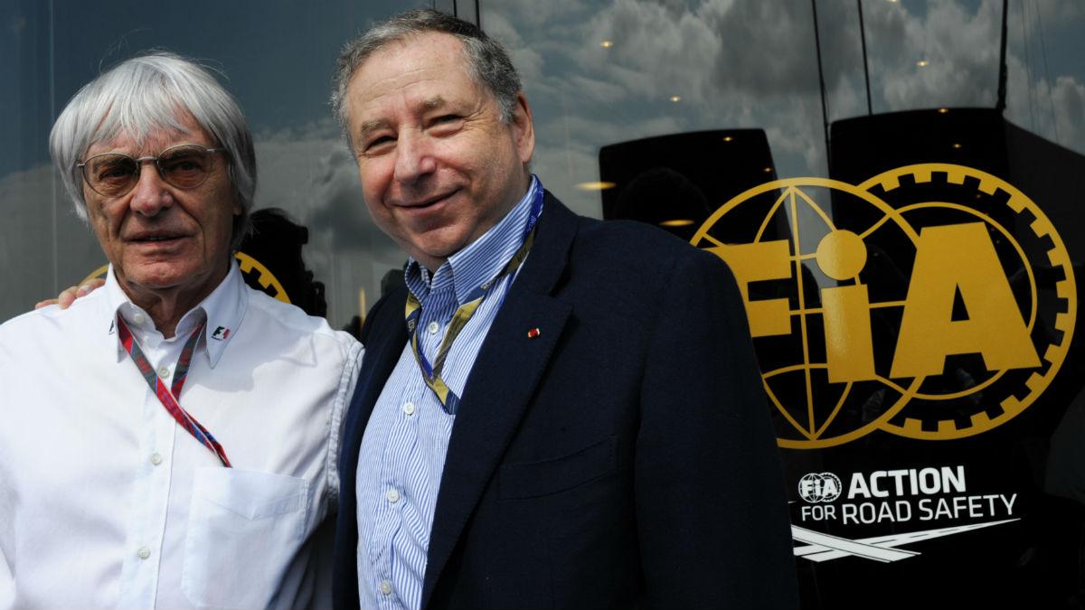 Bernie Ecclestone junto a Jean Todt, en la sede de la FIA. (AFP)