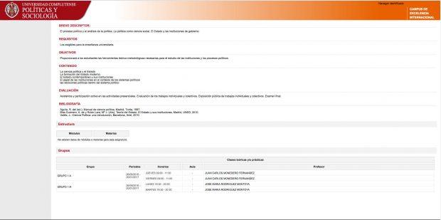 Calendario y detalles de la asignatura de Instituciones Políticas y Estructura de decisión.