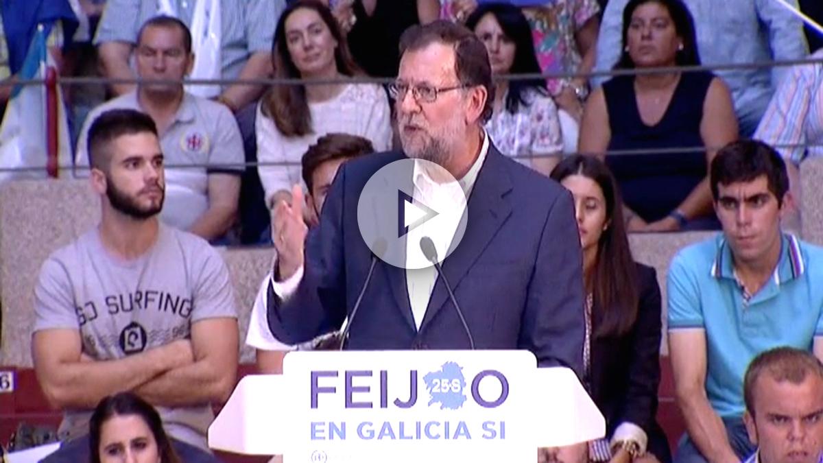 Mariano Rajoy, durante el mitin en Pontevedra.