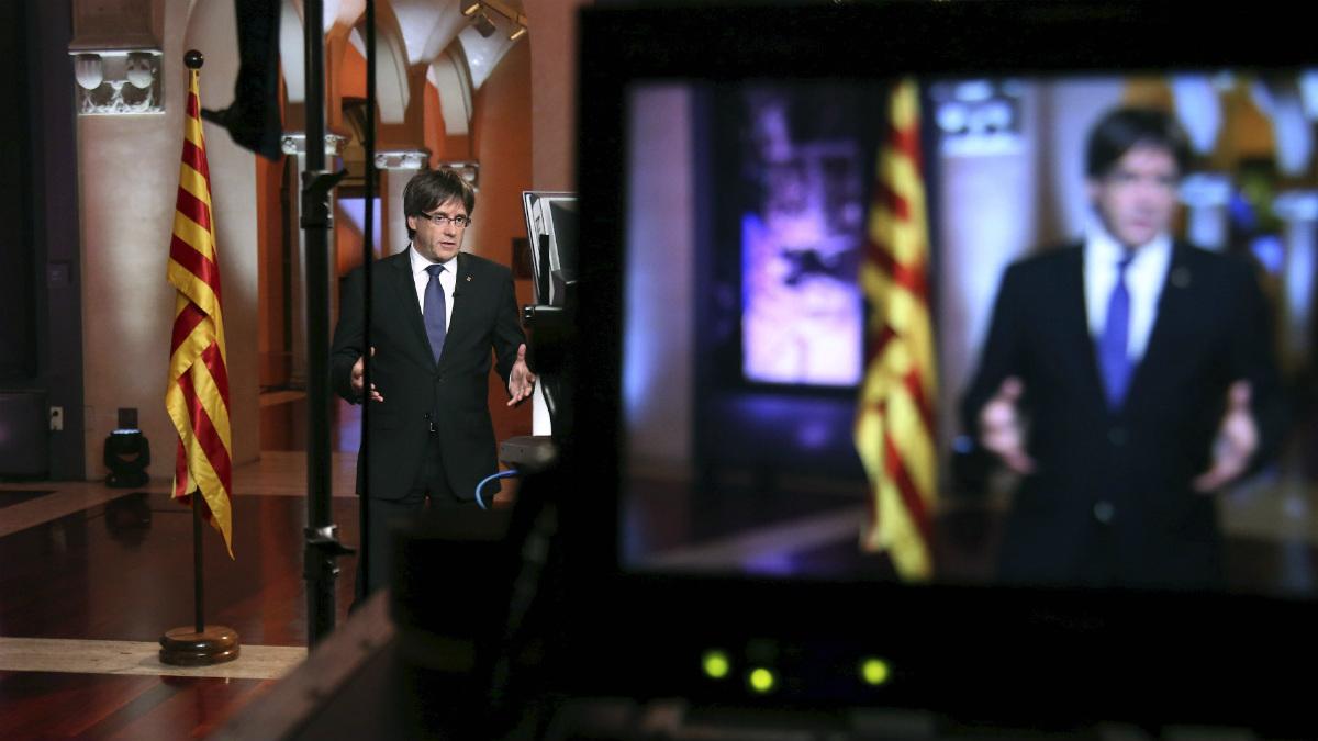 Carles Puigdemont en un discurso televisado.