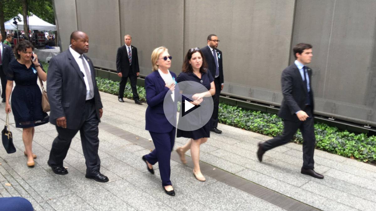 La candidata demócrata a la Presidencia de EEUU, Hillary Clinton, en la ceremonia de recuerdo del 11S. (@zgazda66)