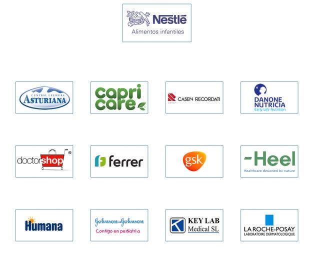 Patrocinadores dela Sociedad Española de Pediatría Extrahospitalaria y Atención Primaria (Sepeap) según la propia Web.
