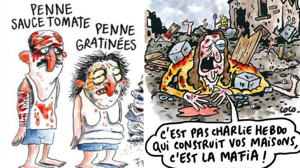 Las dos viñetas de 'Charlie Hebdo' sobre el terremoto de Amatrice (Italia).