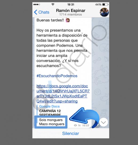 """Captura del canal de Telegram Ramón Espinar: """"Sois mazo monguers"""". (Clic para ampliar)"""