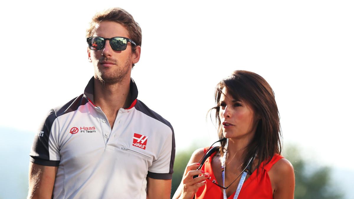 Romain Grosjean, junto a su esposa. (Getty)