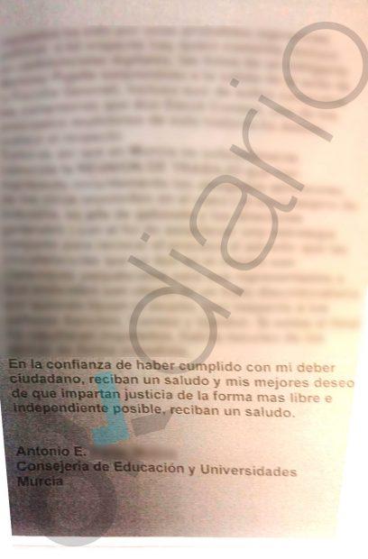 """Carta del testigo """"fantasma"""" de la Púnica en Murcia."""