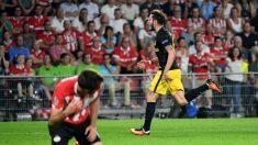Saúl celebra el gol del triunfo ante el PSV. (AFP)