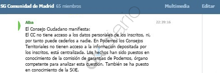 Comunicación de Podemos Madrid en Telegram a cargos del partido. (Clic para ampliar)