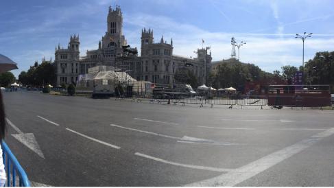Plaza de Cibeles con los andamios en la fuente de Cibeles. (Foto: TW)