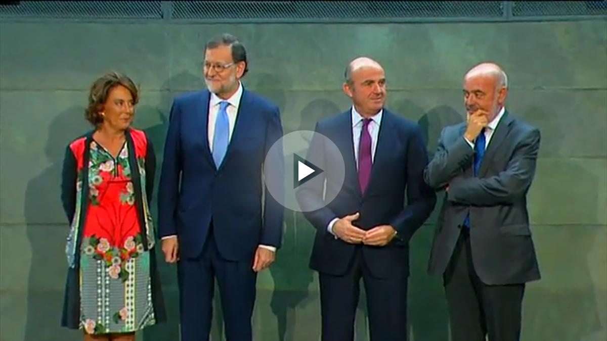 Rajoy, en la presentación del libro de Luis de Guindos, este miércoles.