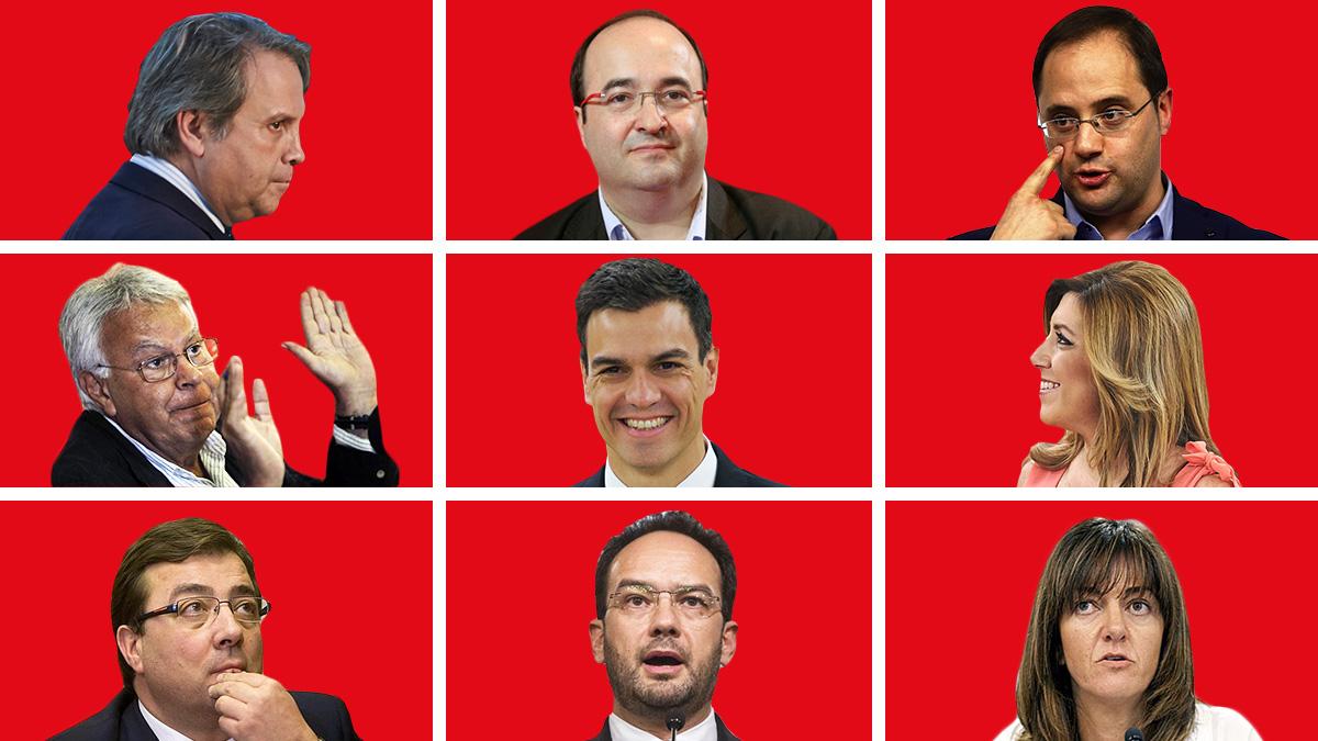 Los dirigentes socialistas: Antonio Miguel Carmona, Miquel Iceta, César Luena, Felipe González, Pedro Sánchez, Susana Díaz, Guillermo Fernández Vara, Antonio Hernando e Idoia Mendia. (Montaje: OKDIARIO)