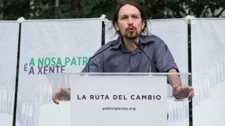 Pablo Iglesias en un acto de Podemos Galicia.