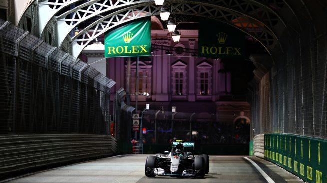 Nico Rosberg se hizo con la pole en Singapur (Getty)