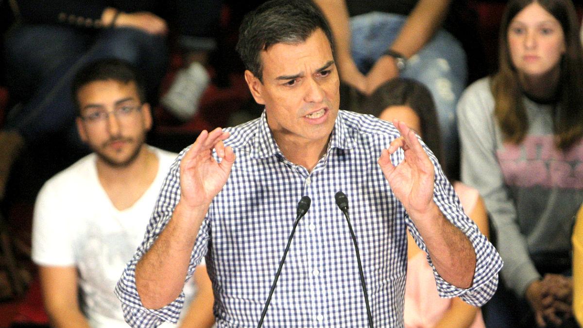 Pedro Sánchez en un reciente acto electoral (Foto: Efe).