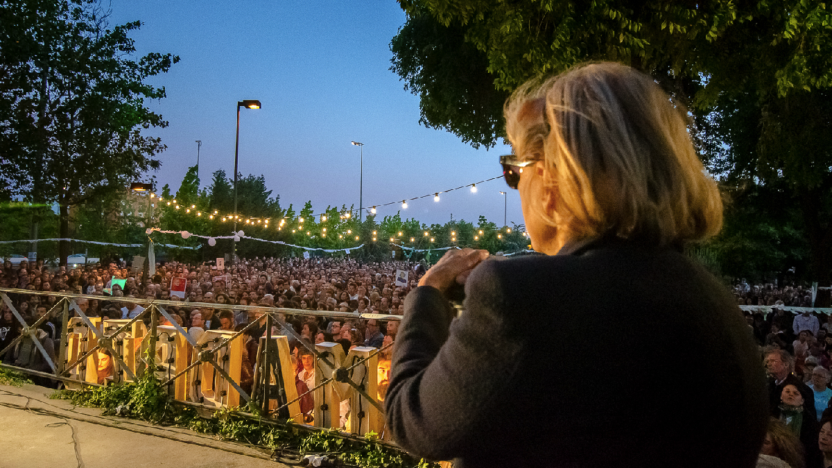 Manuela Carmena en Matadero Madrid. (Foto: AM)