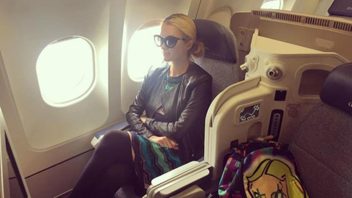 Paris Hilton en su vuelo de Air Europa.
