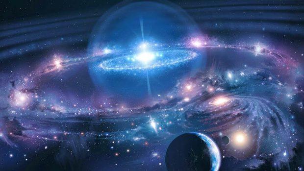 En esta imagen se evidencia el origen del universo; se muestra la explosión de una masa y la conformación de la galaxia. Este está representado en colores negro, blanco, azul y morado.