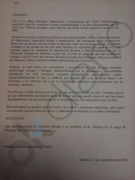 Carta firmada por 35 compañeros de Herrara en su apoyo. (Clic para ampliar)