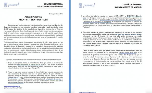 Comunicado del Comité de Empresa del Ayuntamiento contra el director cesado. (Clic para ampliar)