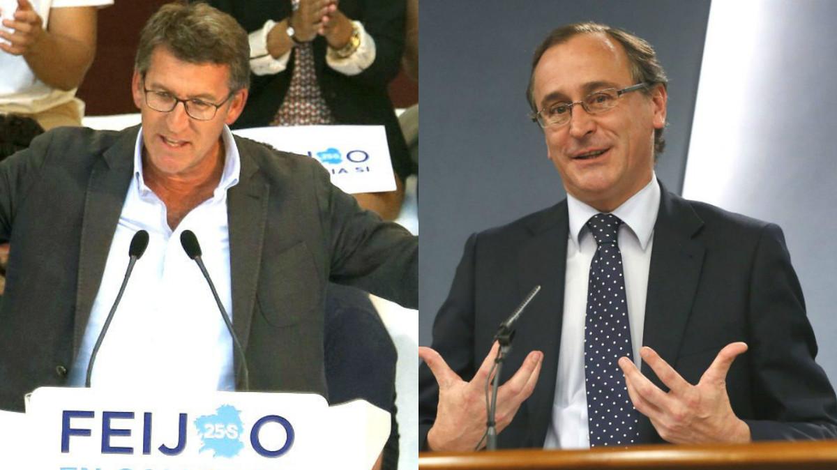 El presidente de la Xunta, Alberto Núñez Feijóo, y el candidato del PP a lehendakari, Alfonso Alonso (foto: EFE)