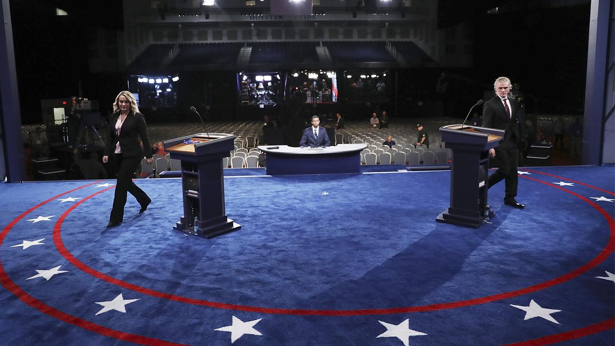 Todo listo en la Universidad de Hofstra para el primer debate entre Hillary Clinton y Donald Trump. (Foto: AFP)
