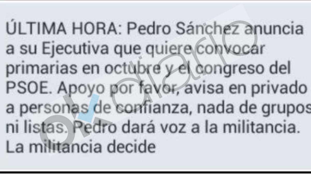 El mensaje que Sánchez pasa a los suyos para ganar el Congreso.