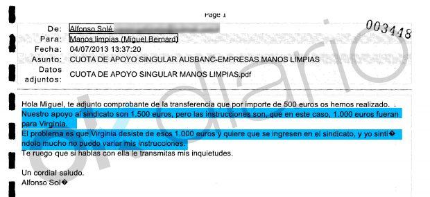 Email del tesorero de Ausbanc, Alfonso Solé, al líder del sindicato Manos Limpias, Miguel Bernad.