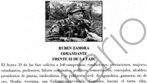 Cartel del Frente 33 de las FARC amenazando de muerte a quien no apoye el acuerdo.