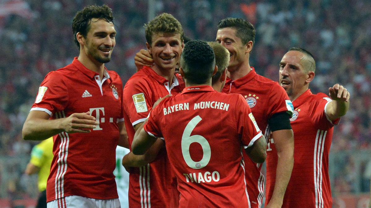 Los jugadores del Bayern celebran un gol. (Getty)