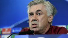 Ancelotti en la rueda de prensa previa al Atlético-Bayern. (AFP)