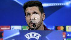 Simeone en la rueda de prensa previa al Atlético-Bayern. (AFP)
