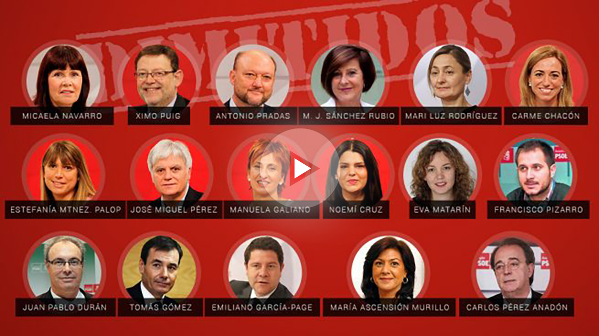 Imagen con los 17 miembros de la Ejecutiva que han presentado su dimisión.
