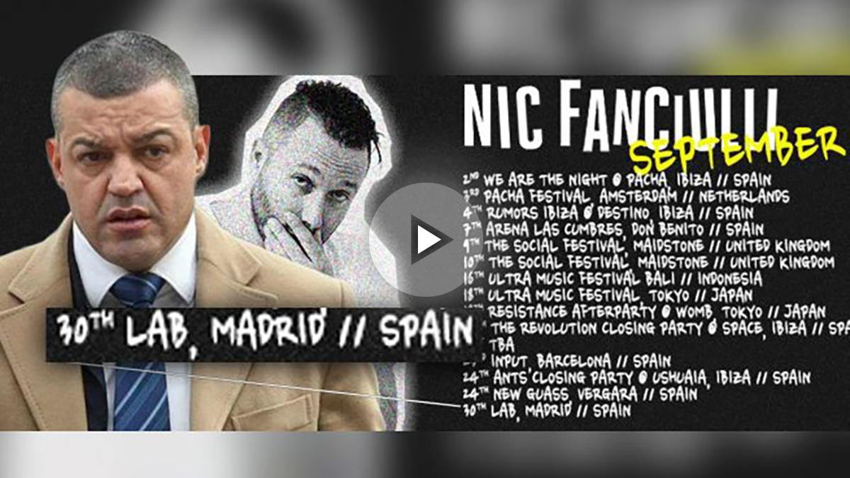 Miguel Ángel Flores y el anuncio del DJ Nic Fanciulli de su visita a la sala LAB, entre todas las discotecas y festivales que ha visitado en septiembre. OKDIARIO