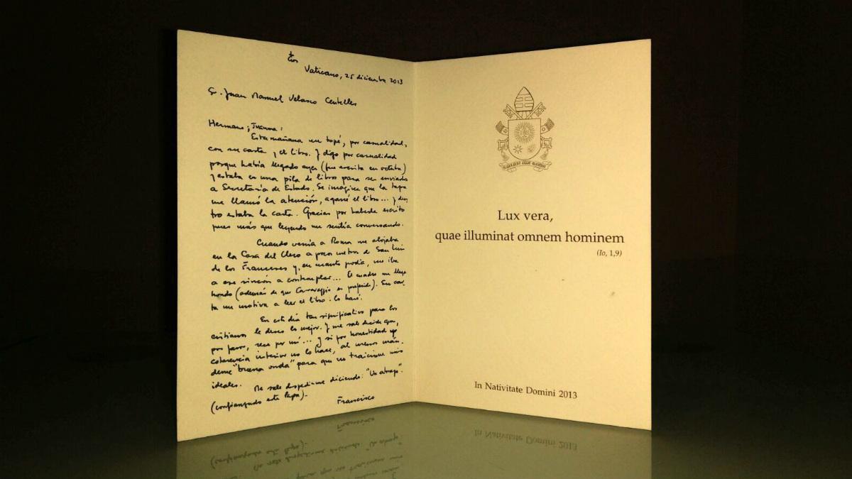 Carta manuscrita del papa Francisco al escritor Juanma Velasco a subasta en ebay.