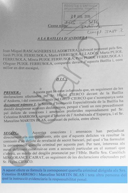 Querella criminal de los Pujol contra Marcelino Martín Blas.