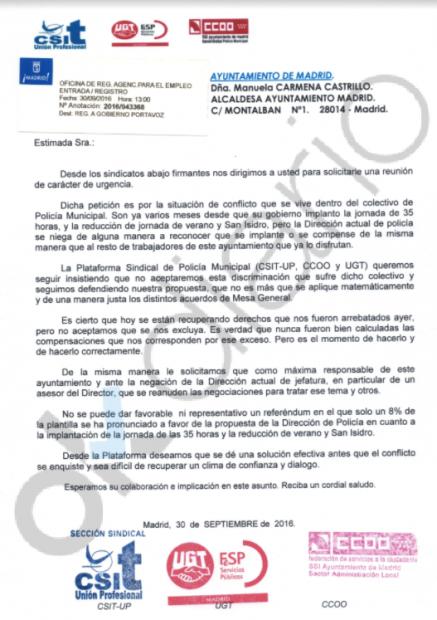 Carta de la Policía a Carmena. (Clic para ampliar)