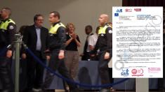 La alcaldesa en el Día de la Policía y la carta que ha recibido. (Foto: YT)